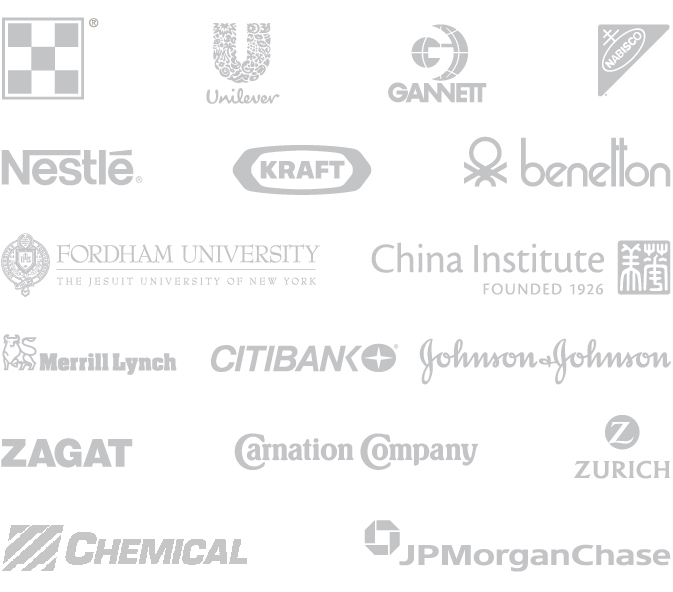 CrossRoads Studios, History, Gannett, Unilever, Purina, Nestle, Kraft, Nabisco, Benetton, Merrill Lynch, Citibank, Johnson & Johnson, Zagat, Carnation Company, Zurich, Chemical, JP MorganChase, Fordham University, China Institute Logos