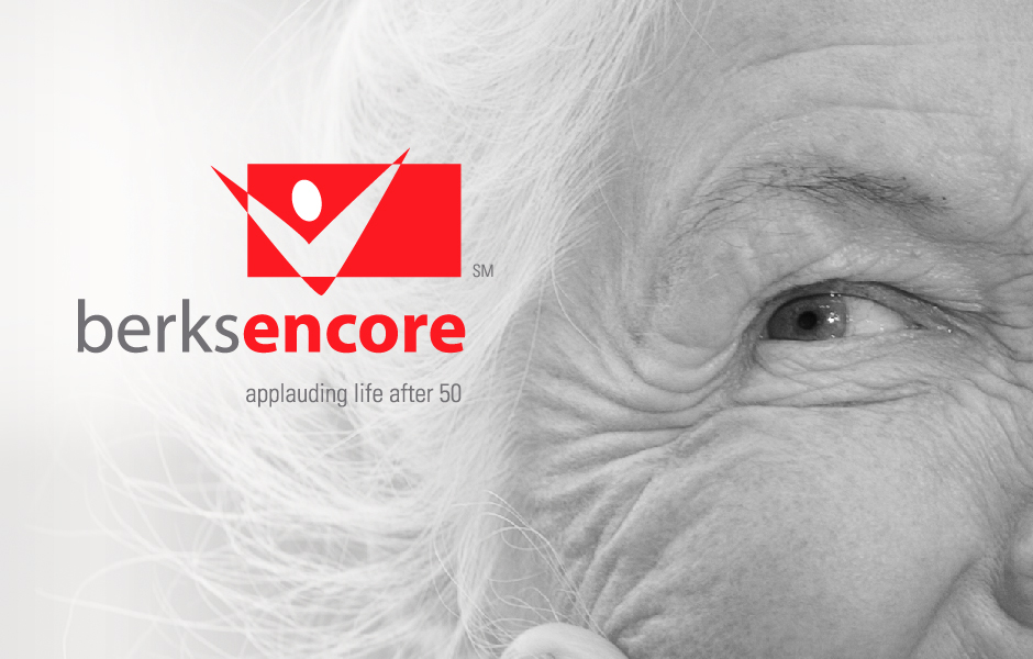 Berks Encore Logo, with close-up of woman's face