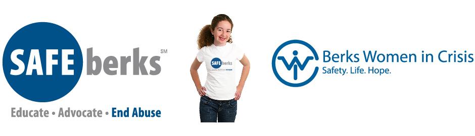 Safe Berks, new logo, girl wearing logo on tshirt and original logo
