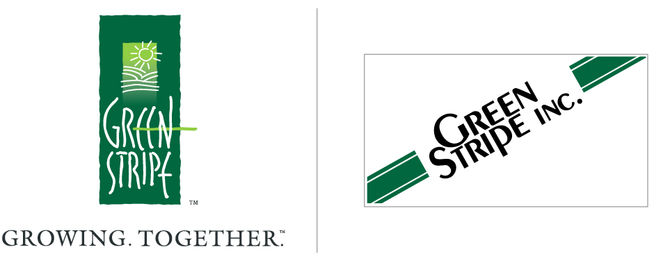 GreenStripe New Brand Identity, design logo - green, fields, hills, sun and old Green Stripe Inc. logo with stripes