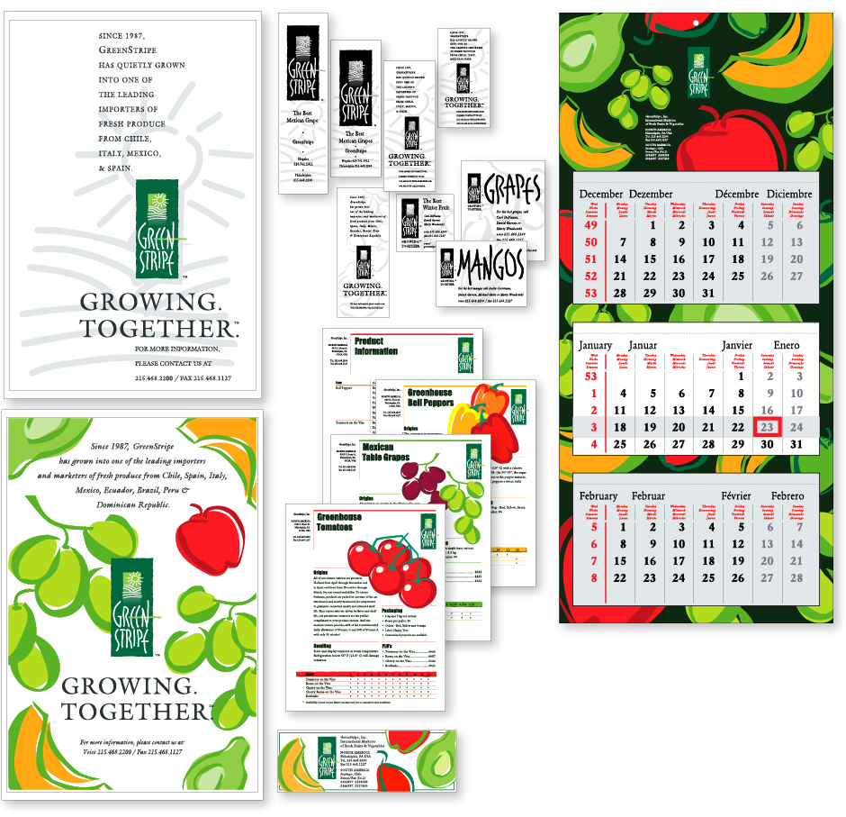 GreenStripe, Marketing Materials - design ads, business cards, promos and 12 month multilingual calendar