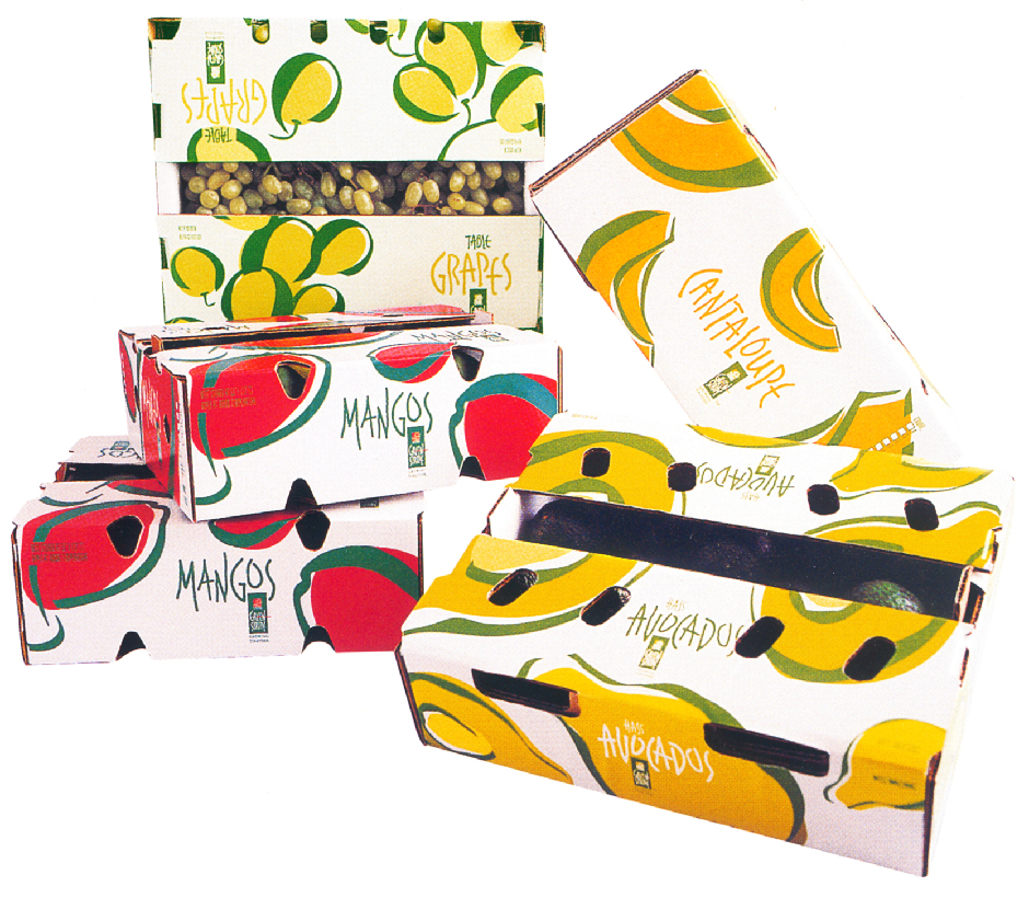 GreenStripe Fresh Produce Boxes for Grapes, Mangos, Cantaloupe and Avocados, Strong Design Graphics