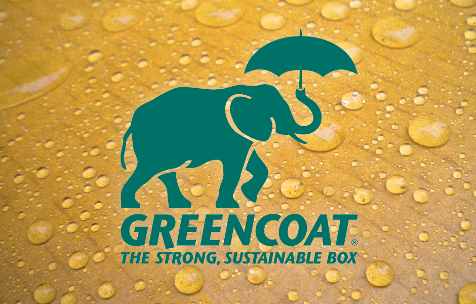 Greencoat Logo, green elephant with umbrella on corrugated board with water drops