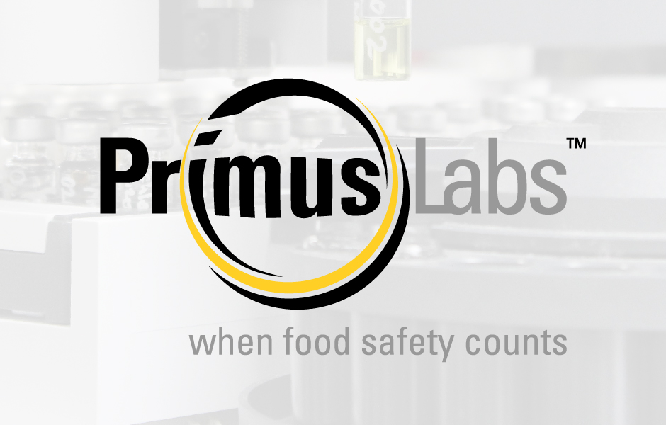 PrimusLabs Brand Logo, yellow, black and grey, with laboratory background