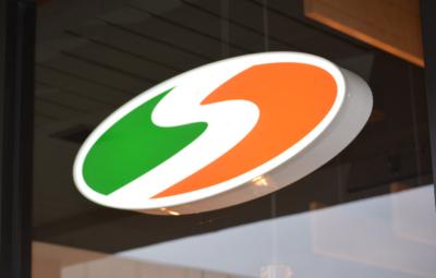 Shredwich Logo Sign Feature, green, orange and white