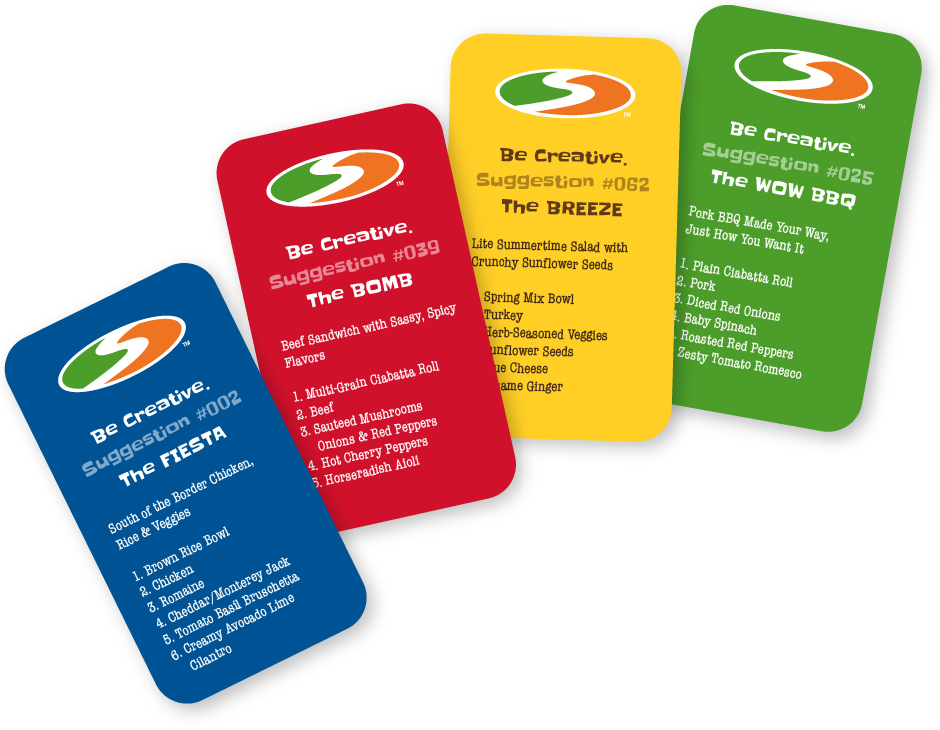 Shredwich Newbie Cards, 4, in blue, red, yellow and green